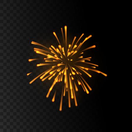 Shimmering fireworks explosion isolated on black transparent background. Decorative elements for holiday design. Vector illustration. Bursting glowing shape.
