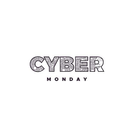 Cyber Monday label design.