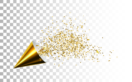 Golden party popper with exploding star confetti glitters.