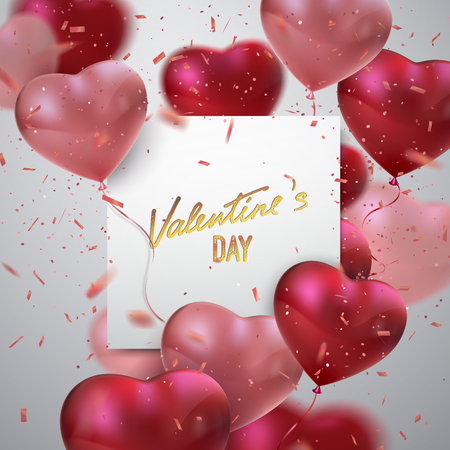 Valentines day holiday sign. Vector realistic illustration of bunch of heart shape balloons with handwritten vintage lettering, flying confetti particles. Festive event paper banner. Party invitation Çizim