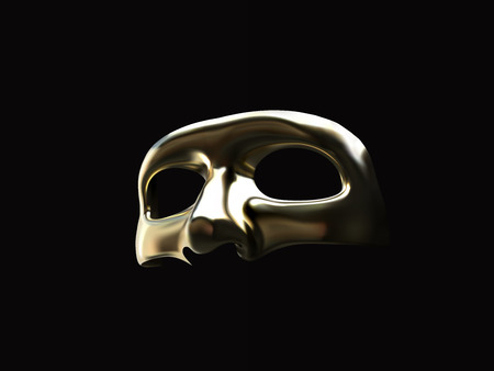 Golden realistic mask isolated on black.