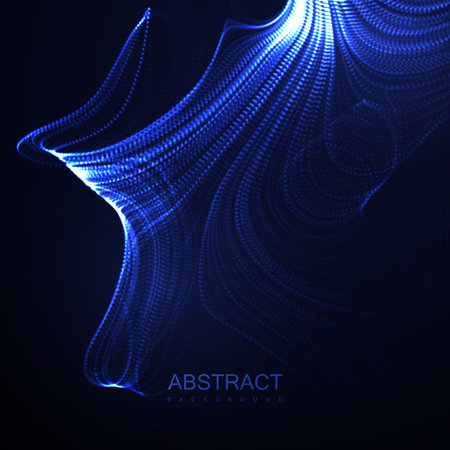 Abstract digital wave of glowing particles design