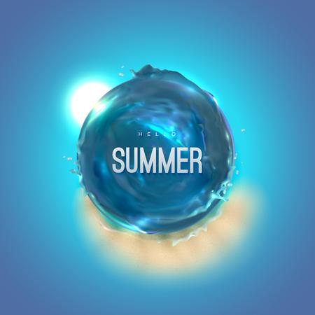 Hello Summer. Vector 3d illustration