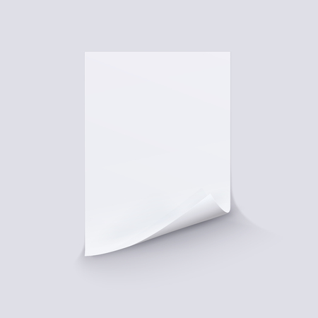 White sheet of paper on white background.