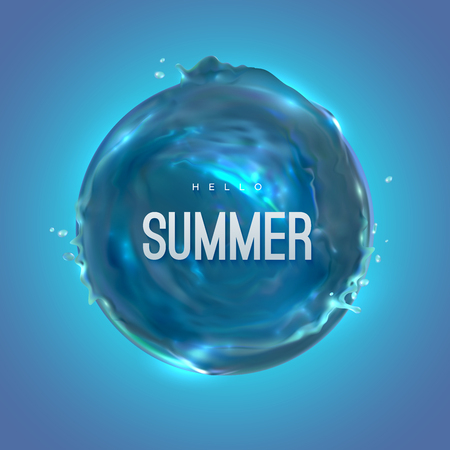 Hello Summer. Vector realistic 3d illustration Illustration