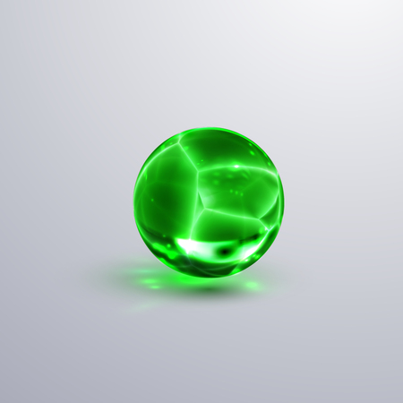 Glossy cracked crystal sphere. Vector illustration. Glossy transparent fractured ball with caustics effect. Gemstone or green glass bubble.