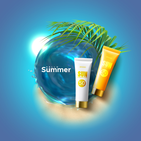 Sun protection cosmetics packaging ad poster. Body lotion or cream with UV protection, sea water whirlpool, palm leaves on sandy beach background. Vector summer illustration. Cosmetic mockup design.