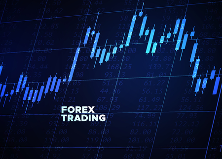 Japanese candlestick chart on blue neon background. Vector abstract illustration. Financial market data. Forex trading concept. Stock exchange symbol.