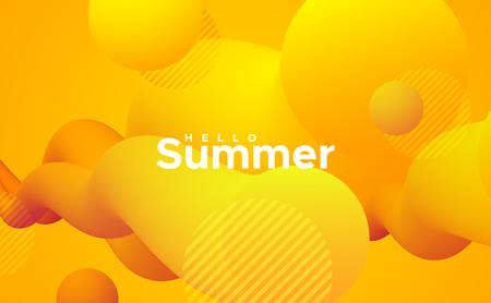Hallo Sommer. Abstrakte bunte 3D-Formen. Künstlerische saisonale Vektorgrafik. Lebhafter Farbverlaufsstrom oder -wolke. Flüssige Mischflüssigkeiten. Kreativität-Konzept. Plakatgestaltung für visuelle Kommunikation