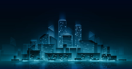 Night cityscape with neon lights. Vector architectural illustration. Nightlife urban concept. City skyline reflected in water. Çizim