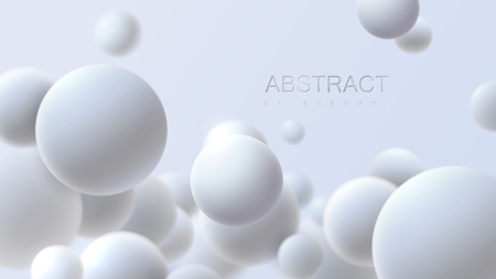 Falling white soft spheres. Vector realistic illustration. Abstract background with 3d geometric shapes. Modern cover design. Ads banner template. Dynamic wallpaper with balls or particles. Vector Illustration