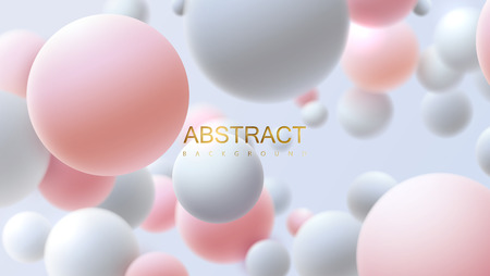 Flowing white and pink soft spheres. Vector realistic illustration. Abstract background with 3d geometric shapes. Modern cover design. Ads banner or brochure template. Dynamic wallpaper Vetores