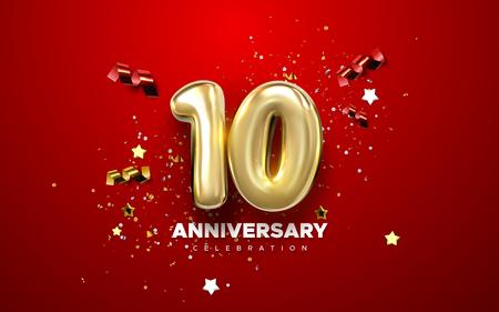 Célébration du 10e anniversaire. Numéros d'or avec des confettis étincelants, des étoiles, des paillettes et des rubans de banderoles. Illustration festive de vecteur. Signe 3d réaliste. Décoration d'événement de fête Vecteurs