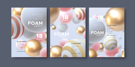 Electronic music festival ads poster. Modern club foam party invitation. Vector disco illustration with 3d abstract spheres. Dynamic colorful balls. Dance music event cover