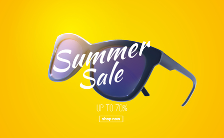 Summer sale banner. Vector seasonal illustration of realistic sunglasses and promotional label. Shopping discount event sign.