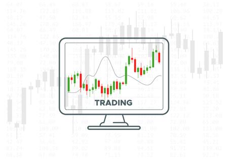 Wykres handlu na rynku Forex. Ilustracja wektorowa technologii finansowych. Strategie inwestycyjne lub koncepcja handlu online. Monitor komputera stacjonarnego z wykresem świecowym. Wskaźniki giełdowe.