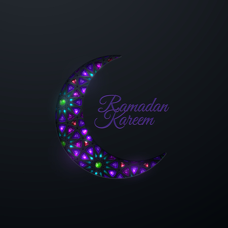Ramadan Kareem. Vector islamic religious illustration of black crescent moon with violet and green crystal mosaic. Muslim holy month Ramadan postcard design. Holiday poster with girih pattern Illustration