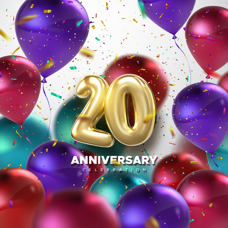 20th Anniversary celebration. Golden numbers with sparkling confetti and flying multicolored balloons. Vector festive illustration. Realistic 3d sign. Party event decoration