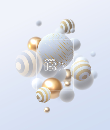 Abstract composition with 3d spheres cluster. White and golden bubbles. Vector illustration of balls textured with striped pattern. Vertical banner or poster design. Futuristic background Illustration