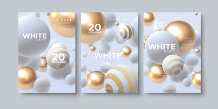 Electronic music festival. Modern posters design. White party flyer. Abstract background with 3d spheres. Vector illustration of flowing balls or particles. Club invitation template. Illustration