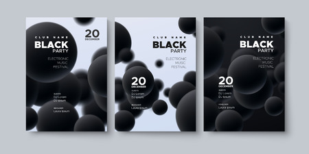 Electronic music festival. Modern poster design. Black party flyer. Abstract background with 3d spheres. Vector illustration of flowing balls or particles. Club invitation template.