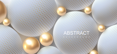 Abstract background with 3d spheres. Golden and white bubbles. Vector illustration of balls textured with halftone pattern. Jewelry cover concept. Horizontal banner. Decoration element for design Vektoros illusztráció