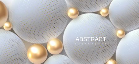 Sfondo astratto con sfere 3d. Bolle dorate e bianche. Illustrazione vettoriale di palline strutturate con motivo a mezzitoni. Concetto di copertina di gioielli. Bandiera orizzontale. Elemento decorativo per il design Vettoriali