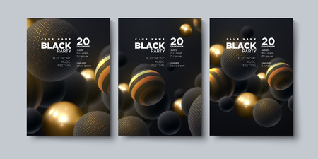 Electronic music festival. Modern poster design. Black party flyer. Abstract background with 3d spheres. Vector illustration of balls textured with glittering paillettes. Club invitation template.