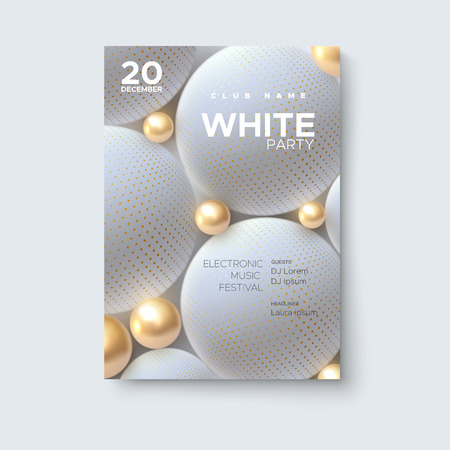 Electronic music festival. Modern poster design. White party flyer. Abstract background with 3d golden and white spheres. Vector illustration of flowing balls or particles. Club invitation template.