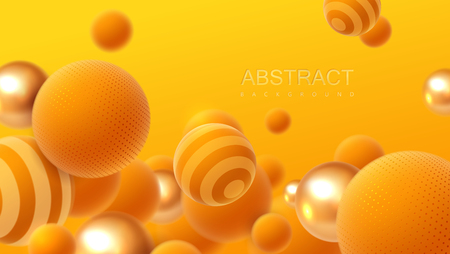 Abstract background with flowing 3d spheres. Orange and golden bubbles. Vector illustration of balls textured with striped pattern. Modern trendy banner or poster design Illustration