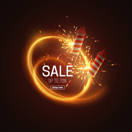 Hot Sale. Realistic 3d vector illustration promotional sale event. Light banner with sparkling fireworks and firecrackers. Ads poster template design. Discount banner