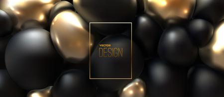 Diseño de portada abstracta. Póster moderno con burbujas de cuerpo suave negras y doradas. Vector ilustración 3d de esferas exprimidas. Fondo geométrico. Banner de moda.