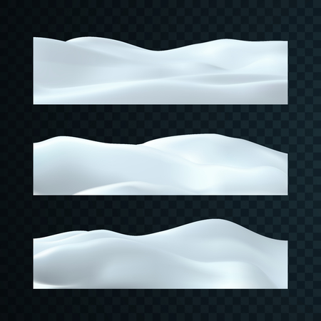 Set of snowy landscapes isolated on dark transparent background. Vector illustration of winter decorations. Snow background. Snowdrift template. Game art concept. Seasonal elements for design