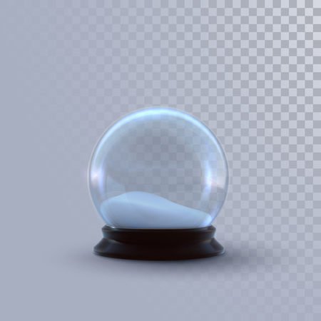 Christmas snow globe isolated on checkered transparent background. Vector 3d illustration. Holiday realistic decoration. Winter Xmas ornament. Crystal ball with snow. Glass sphere Ilustracja
