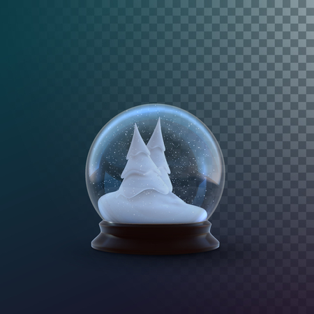 Christmas snow globe isolated on checkered transparent background. Vector 3d illustration. Holiday realistic decoration. Winter Xmas ornament. Crystal ball with snow. Glass sphere with snowy fir trees Illustration