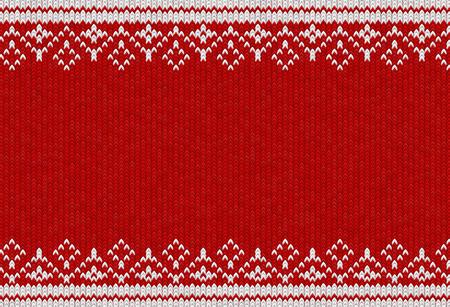 Modello in tessuto lavorato a maglia. Illustrazione vettoriale. Trama di abbigliamento caldo. Sfondo rosso intrecciato con ornamento invernale bianco Vettoriali