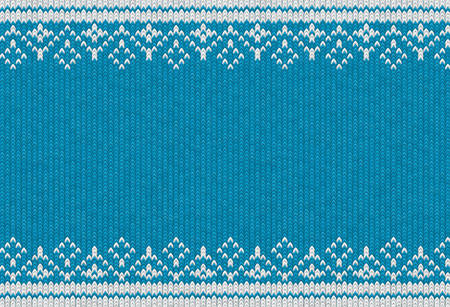 Knitted textile pattern. Vector illustration. Warm clothing texture. Blue woven background with white winter ornament. Traditional slavic or nordic knit tracery Illustration
