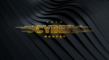 Cyber Monday. Promotional online sale event. Vector technology illustration. Futuristic design. Golden label with circuit board texture on black background