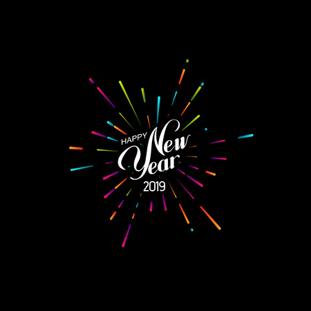 Feliz año nuevo 2019. Ilustración de vector de vacaciones con composición de letras y forma de explosión de fuegos artificiales.