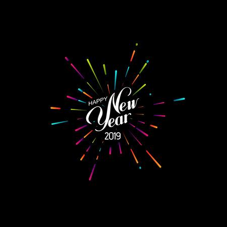 Frohes neues Jahr 2019. Urlaub-Vektor-Illustration mit Schriftzug Zusammensetzung und platzendem Feuerwerk Form.