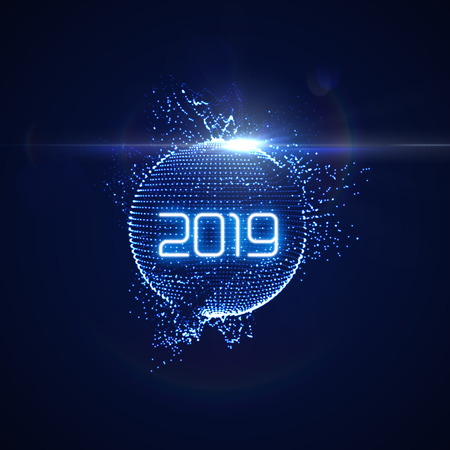 Happy New 2019 Year. Futuristic glowing neon light sphere with bursting light rays. Vector holiday illustration. Festive New Year 2019 party sign. Decoration element for design Illustration