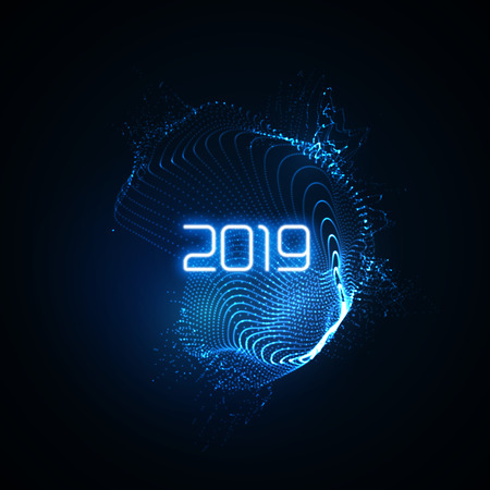Happy New 2019 Year. Futuristic glowing neon light splash with bursting light rays. Vector holiday illustration. Festive New Year 2019 party sign. Decoration element for design Illustration