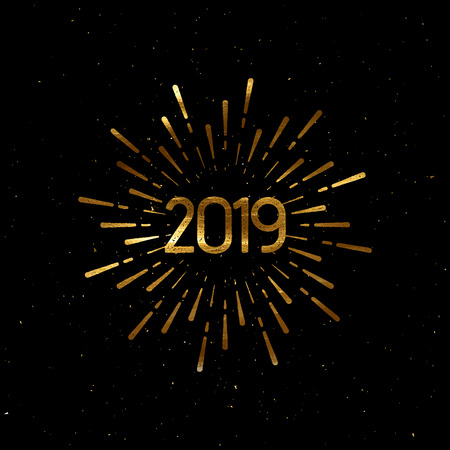 Happy 2019 New Year. Holiday Vector Illustration With Lettering And Burst Or Light Rays. Golden Textured Happy New Year Label