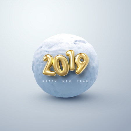 Happy New 2019 Year. Vector illustration of golden 2019 numbers and realistic snow ball. Decorative winter element. Frozen cold sphere. Festive new year holiday ornament
