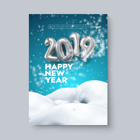 Happy New 2019 Year. Holiday blue poster template or festive party invitation design. Vector illustration. Winter decoration with silver numbers, blizzard, snowflakes and snowdrifts