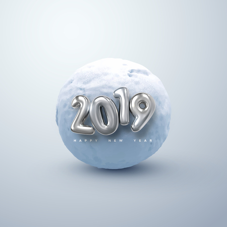 Happy New 2019 Year. Vector illustration of silver 2019 numbers and realistic snow ball. Decorative winter element. Frozen cold sphere. Festive new year holiday ornament