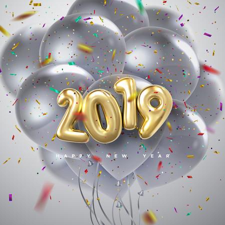 Feliz año nuevo 2019. Ilustración de vector de vacaciones de números metálicos dorados 2019, globos plateados voladores y partículas de confeti. Signo 3d realista. Diseño de cartel o banner festivo