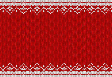 Knitted textile pattern. Vector illustration. Warm clothing texture. Red woven background with white winter ornament. Traditional slavic or nordic knit tracery
