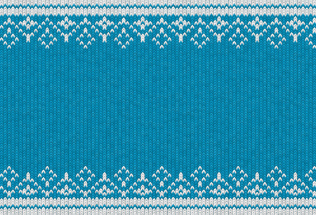 Knitted textile pattern. Vector illustration. Warm clothing texture. Blue woven background with white winter ornament. Traditional slavic or nordic knit tracery Stock Vector - 128506054