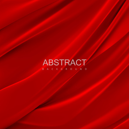 Red silky fabric. Abstract background. Vector illustration. Realistic textile with folds and drapes. Decoration element for design Ilustração